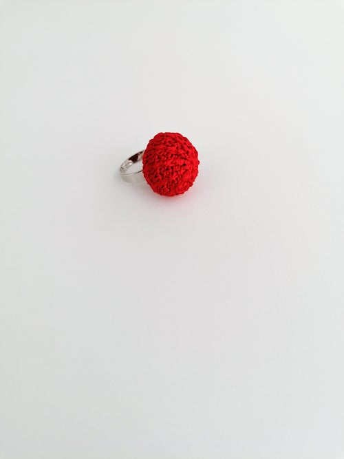 Image of Red Crochet Ring, Small Size