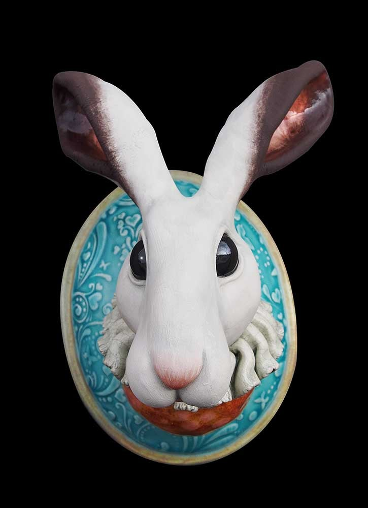Image of HELEN HIGGINS - 'THE ERRANT HARE' - CERAMIC WALL SCULPTURE