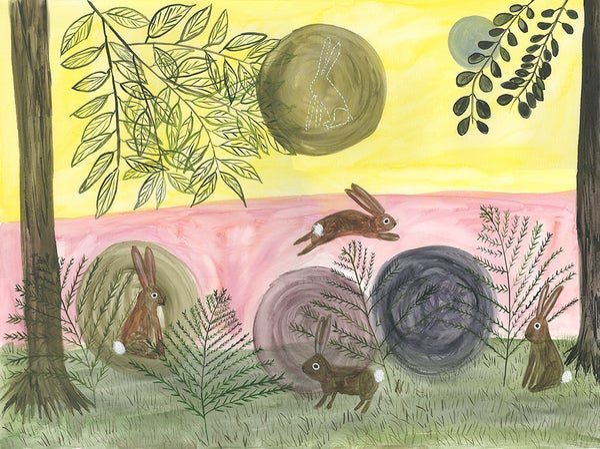 Image of Rabbit Moon. Original painting on paper.