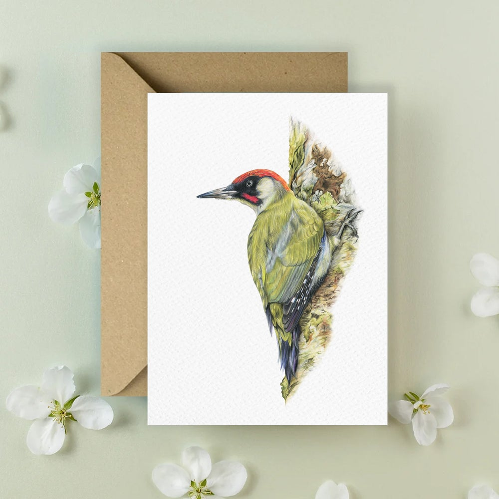 Image of 'Green Woodpecker' Greeting Card