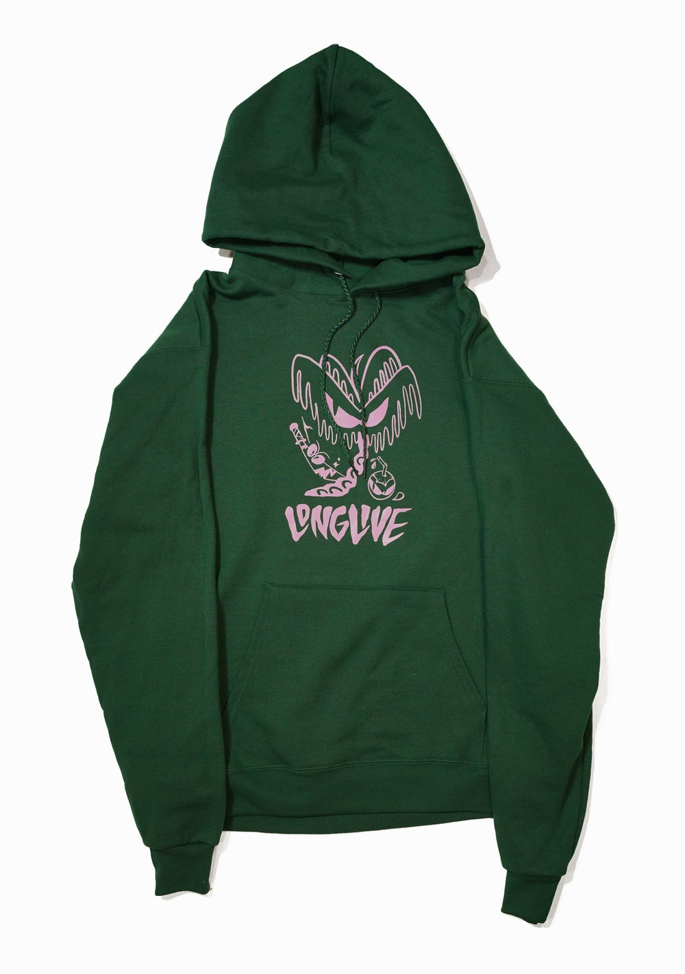 Image of Angry Coconut Pullover Hoodie - Forrest Green