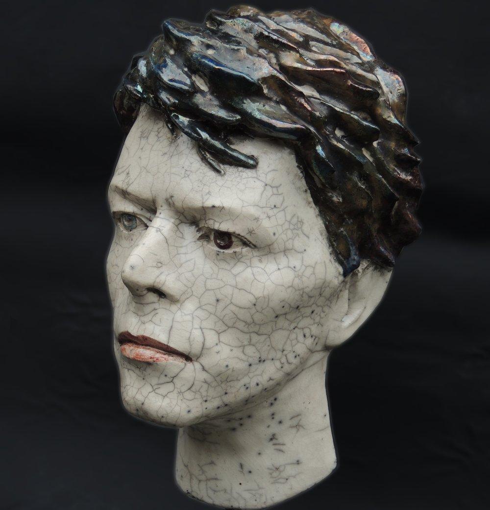 'Serious Moonlight' *UK Stock* Ceramic Sculpture (Unique Raku Piece)