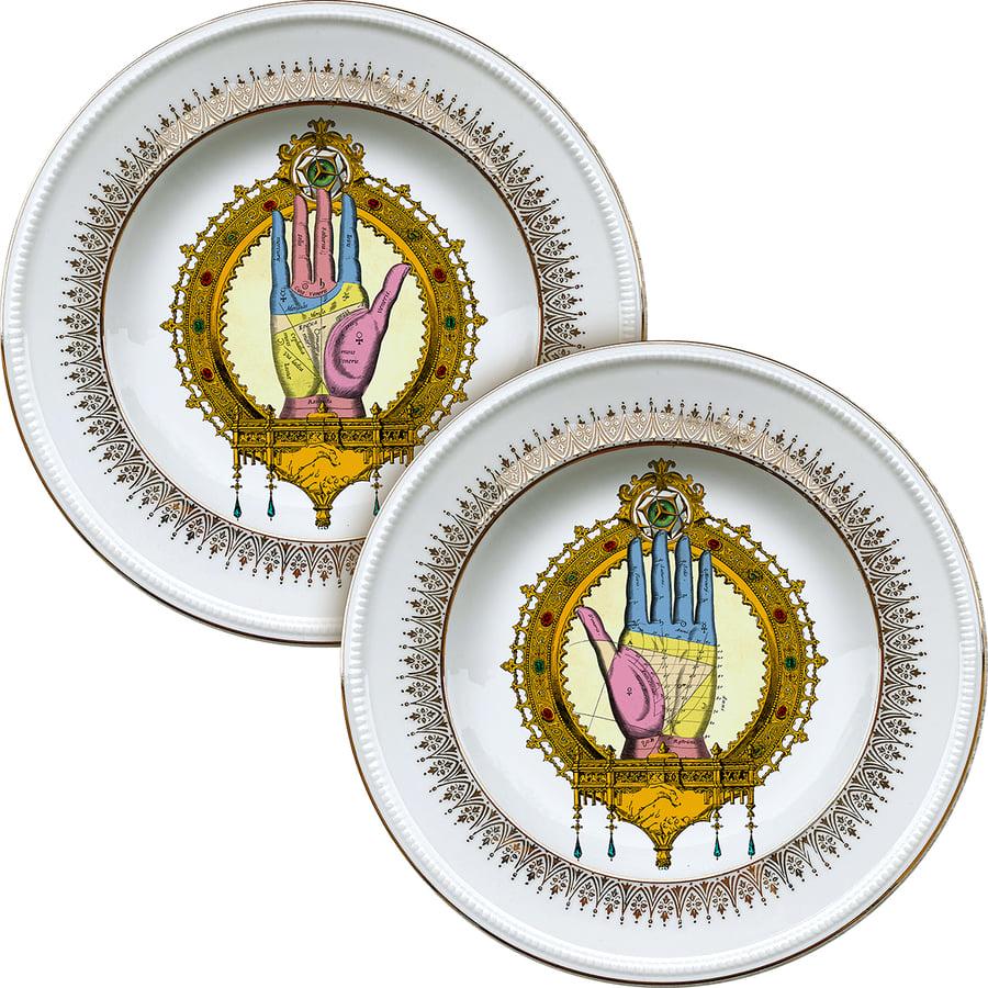 Image of Palmistry HANDS DUO - 2 vintage Porcelain plates - #0721