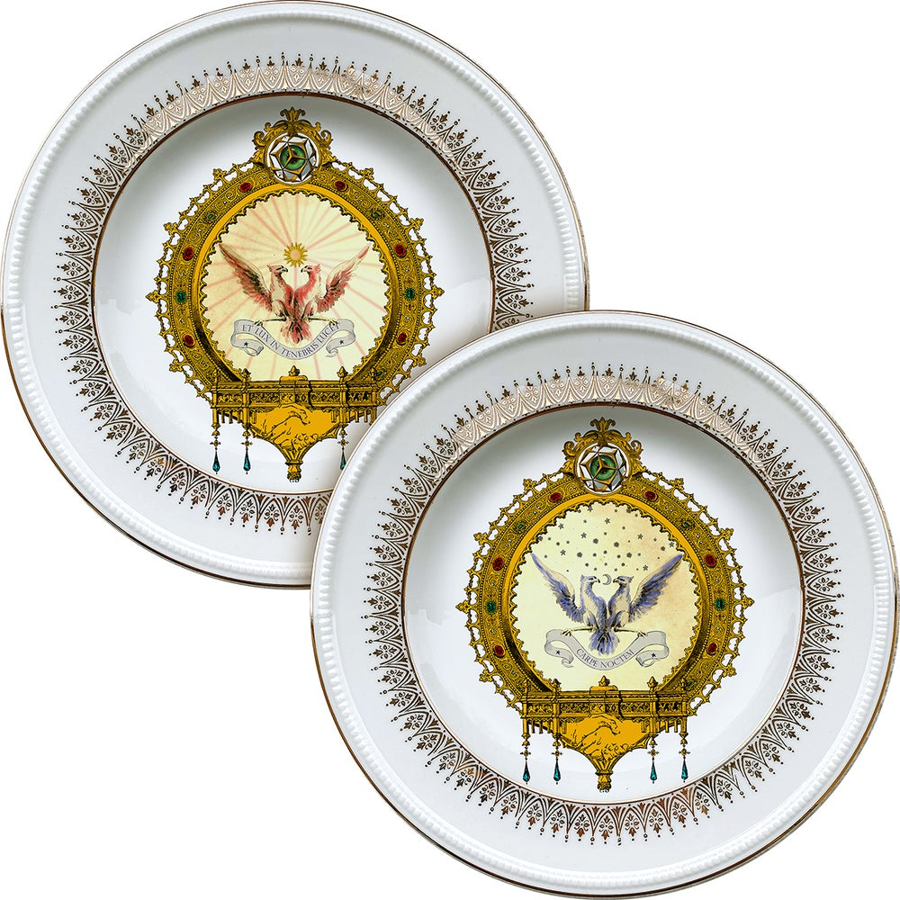 Image of DAY & NIGHT DUO - 2 vintage Porceain plates - #0721