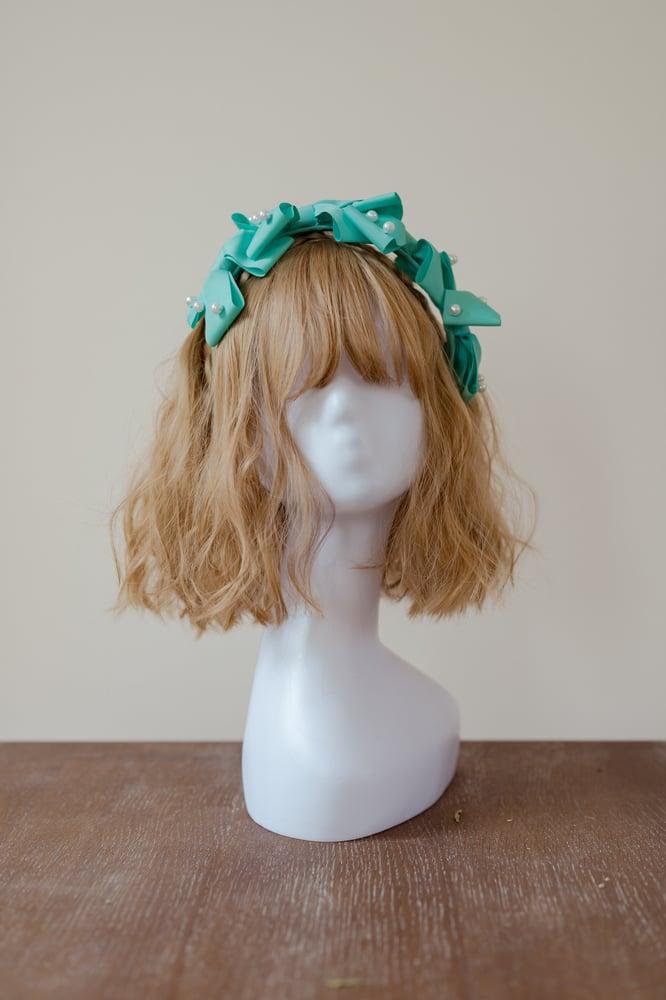 Image of Three Ribbon Headress - Mint Green