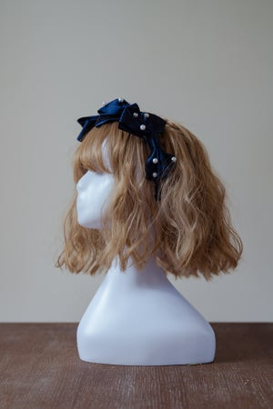 Image of Three Ribbon Headress - Navy Blue