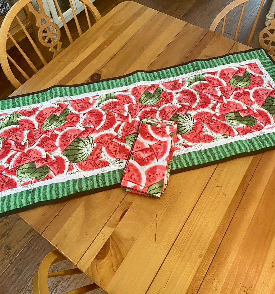 Image of Watermelon Table Runner and  Napkin Set