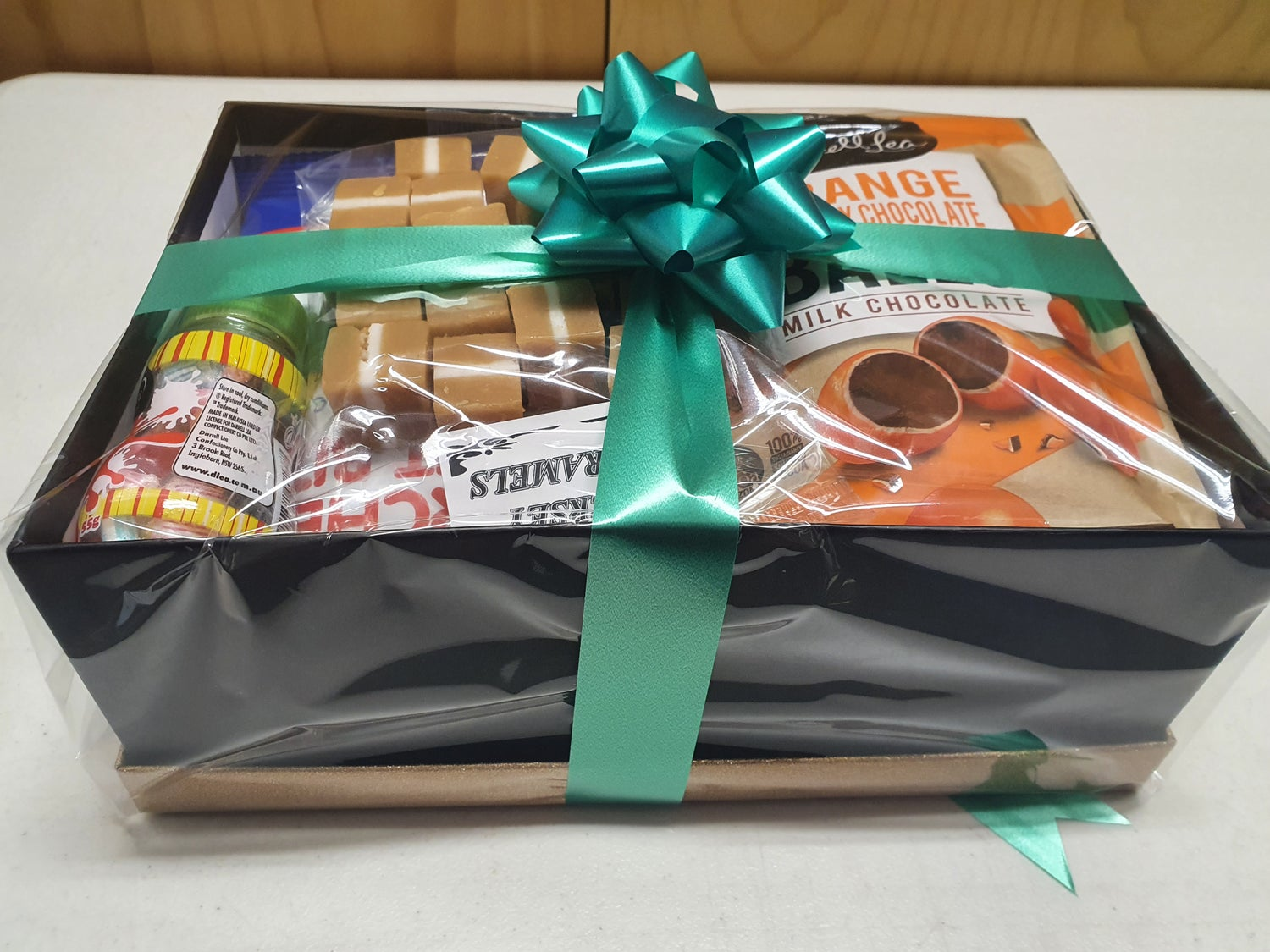 Image of Gift Box Wrapped in Cellophane and Ribbon Australia wide Shipping