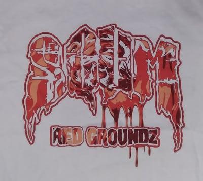 Image of SCUM :  RED GROUNDZ       WHITE SHIRT