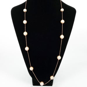 Image of Rose gold / sterling silver necklace with adjustable peach coloured fresh water pearls. M3226