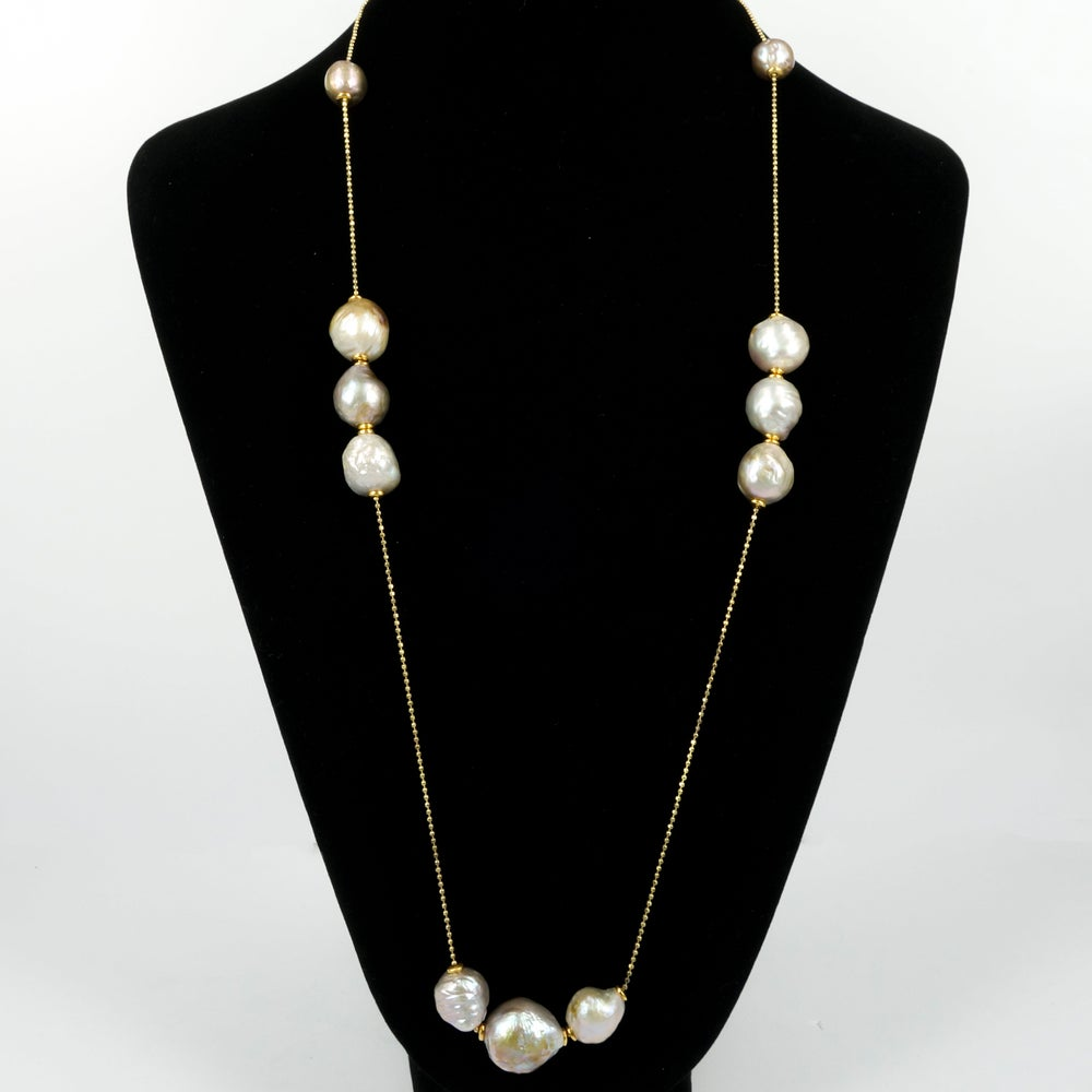 Image of Yellow gold / sterling silver necklace with adjustable cream fresh water pearls. M3228