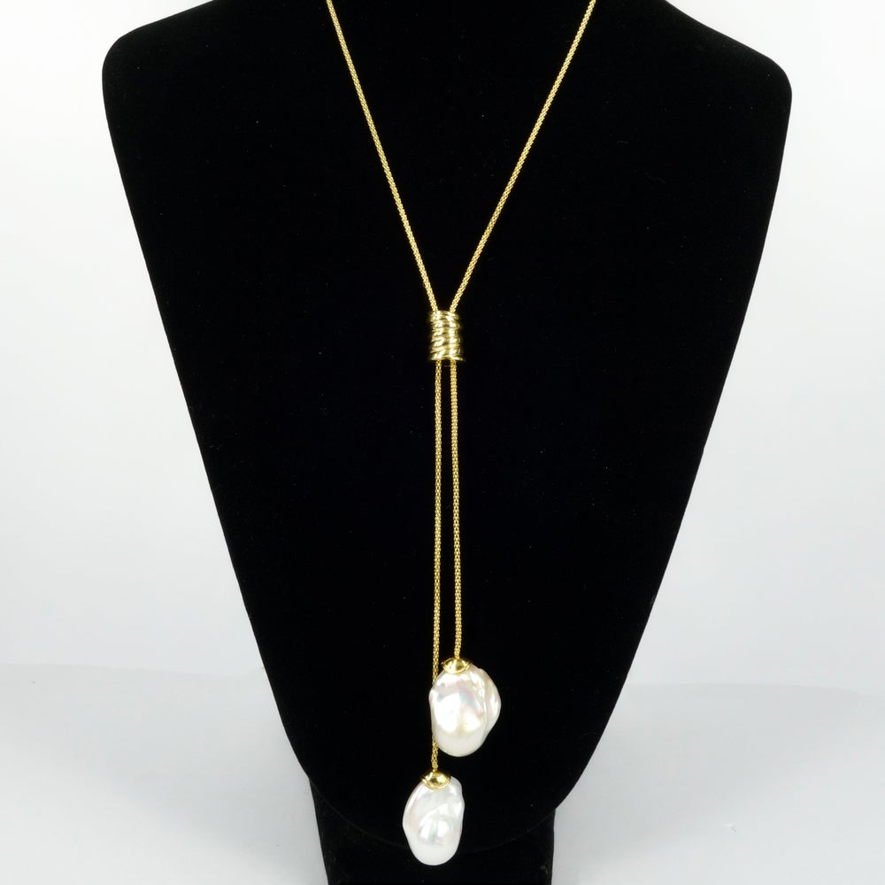 Image of Yellow gold / sterling silver necklace with adjustable  large baroque cream fresh water pearls. M230