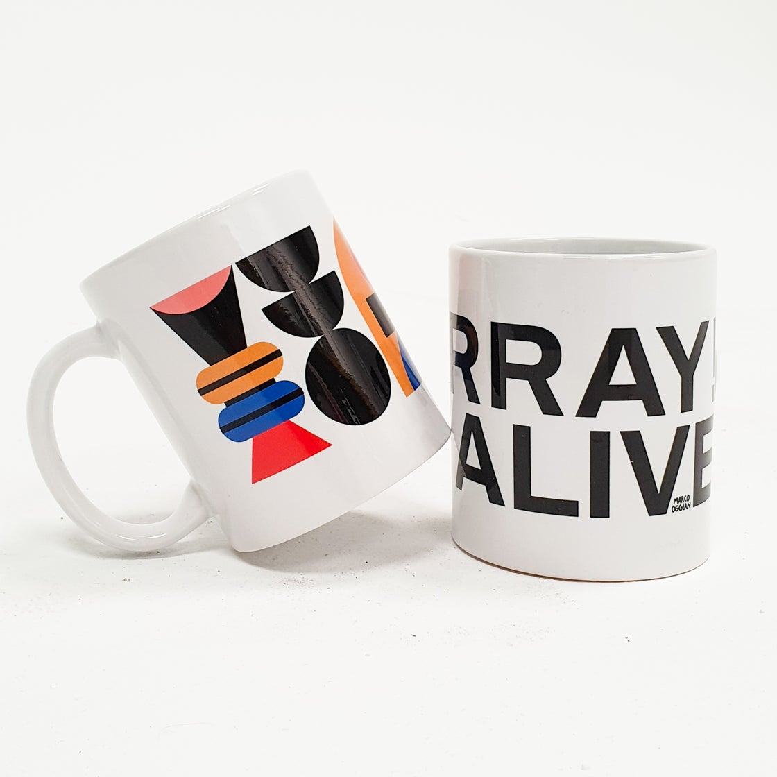 Image of HURRAY! I'M ALIVE Mugs by Marco Oggian