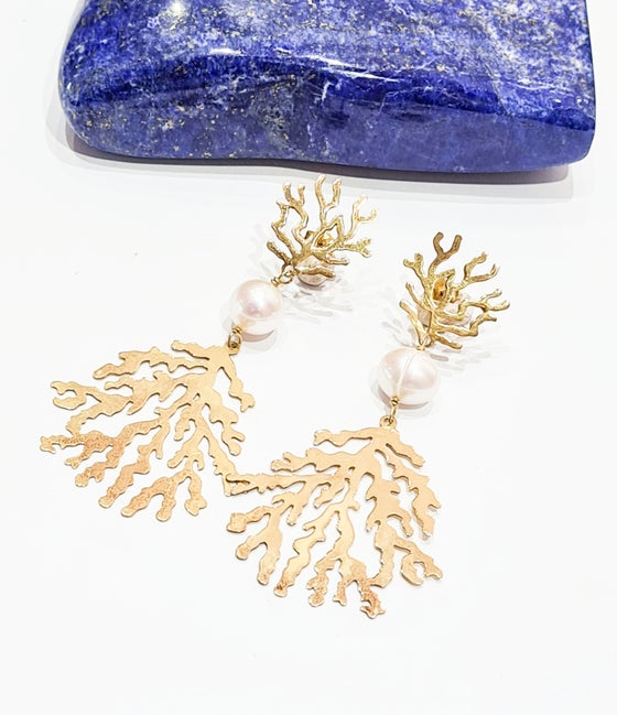 Image of Gold Coral Branch Earrings
