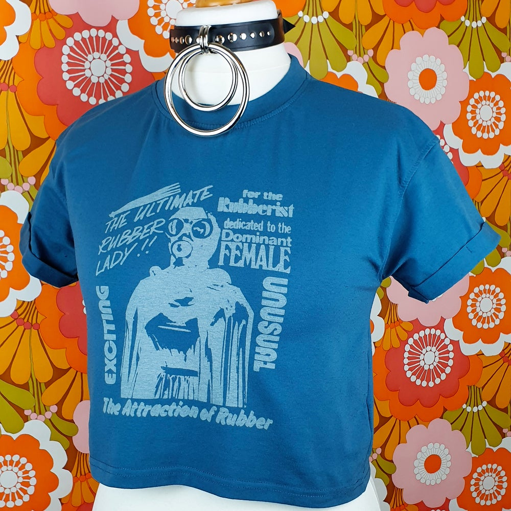 ImpermDelects Upcycled 'RUBBER LADY' Blue Crop Top