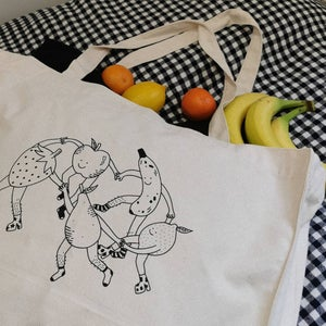 Image of fruity tote bags
