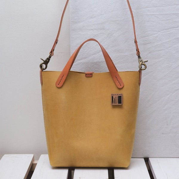 Image of Small Two-way Tote in vintage mustard and tan