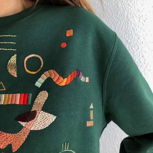 Image of NEW ERA - intuitive hand embroidery on organic cotton sweatshirt, wearable art, one of a kind