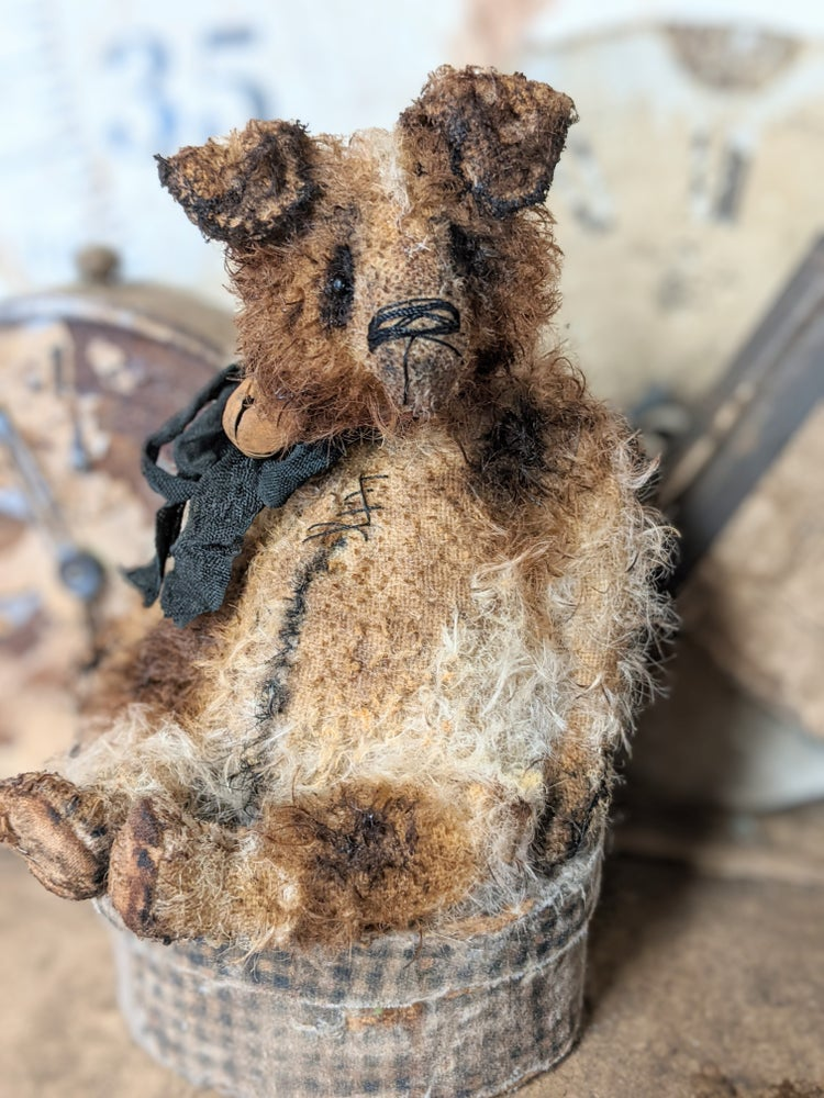 """Image of 6.5""""  Vintage Style  FAT  MOHAIR Jack Russell Terrier Dog by Whendi's Bears #1"""