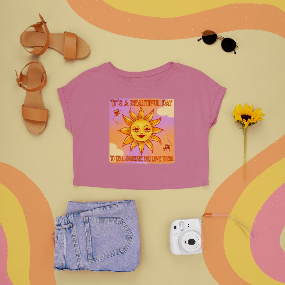 Image of IT'S A BEAUTIFUL DAY CROP TOP