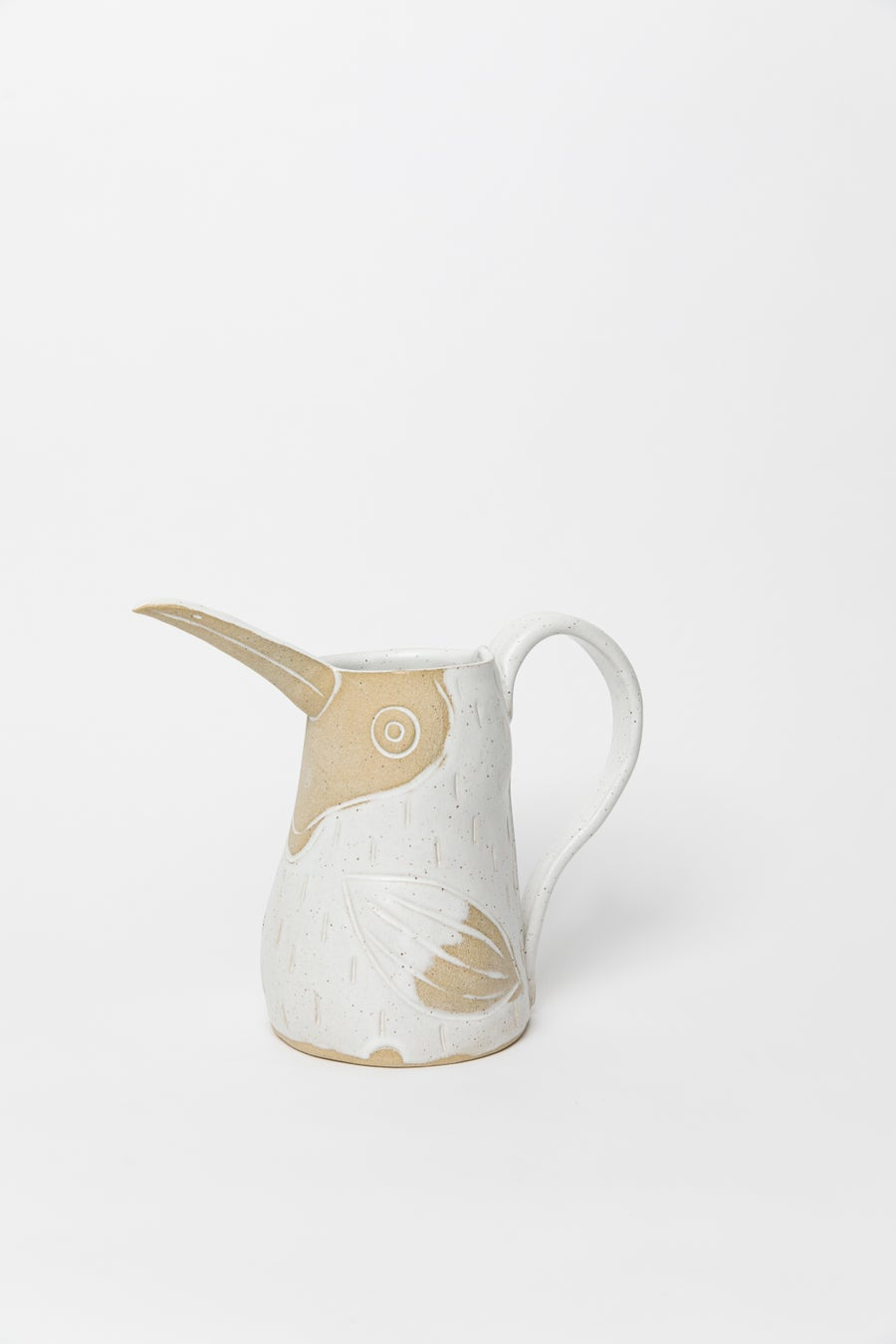 Image of Large Family size Matte White Speckled Toucan Pitcher