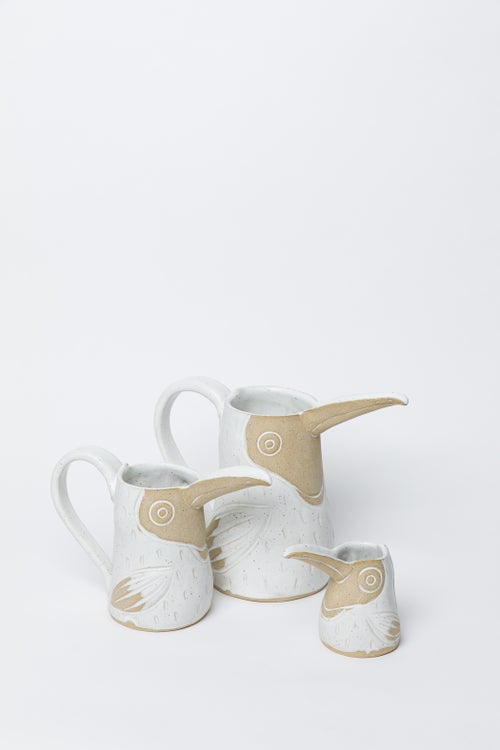 Image of Medium Matte White Satin Toucan Pitcher with Handle