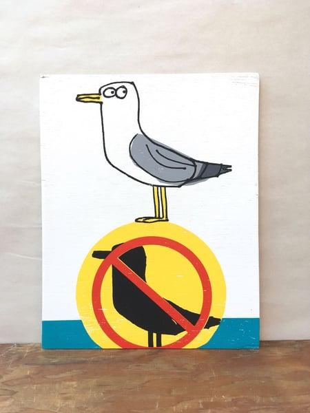 Image of Rebel Gull - print on wood panel