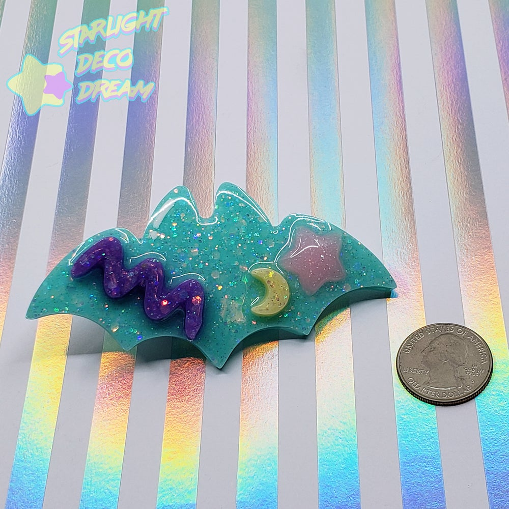 Image of BRIGHT TEAL So Spooky So Radical Geo Bat Hair Clip STYLE A