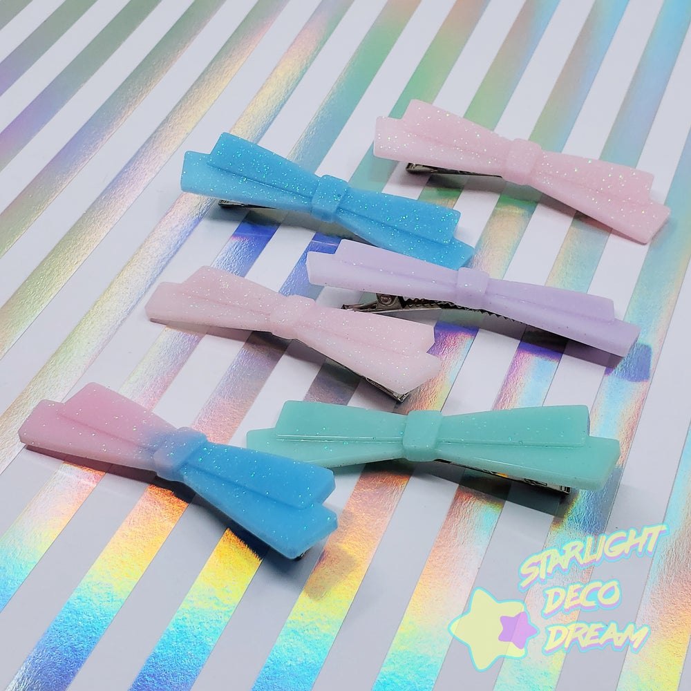 Image of Long Fancy Resin Bow Clip ~ CHOOSE ONE