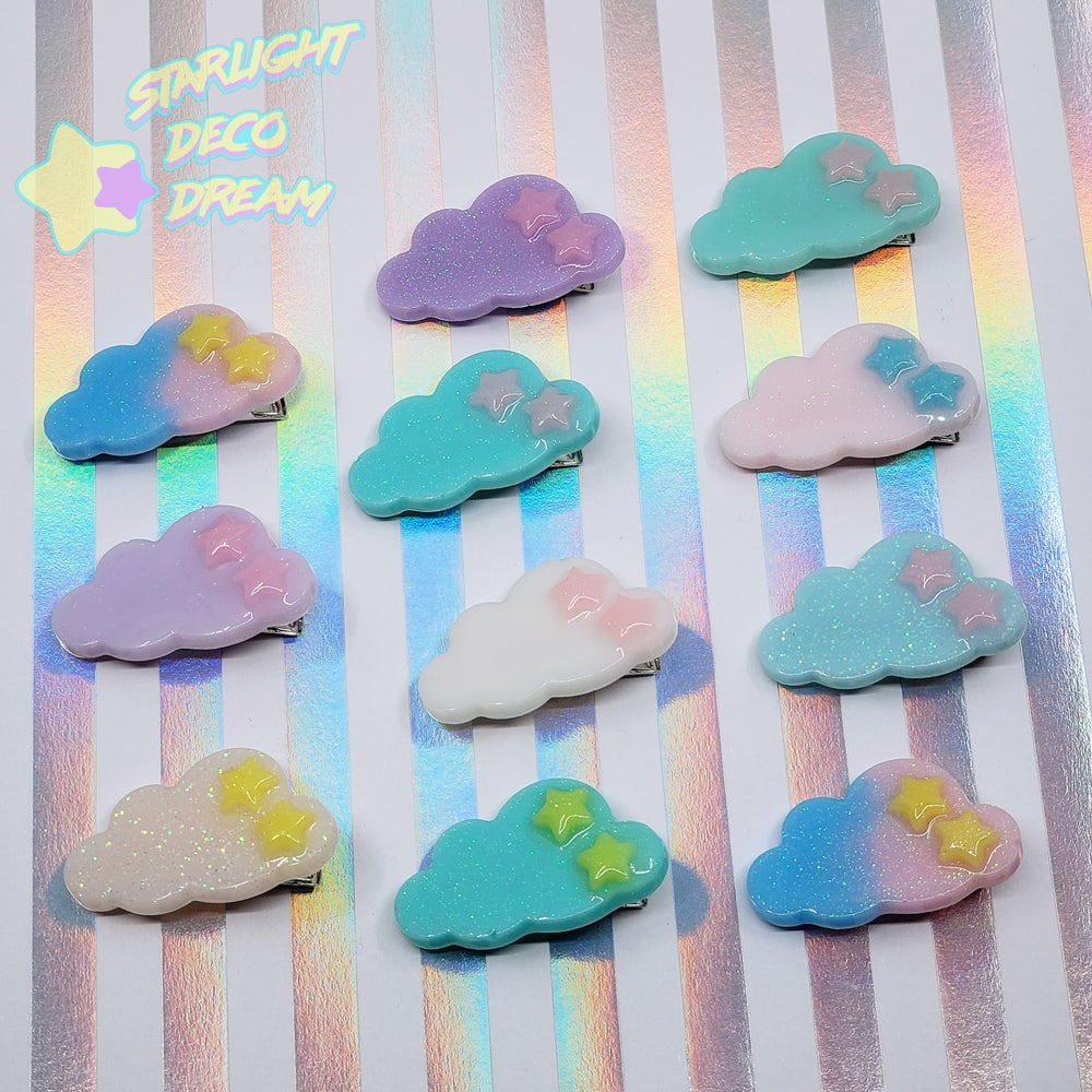 Image of Cloud with Stars Accent Hair Clip ~ CHOOSE ONE
