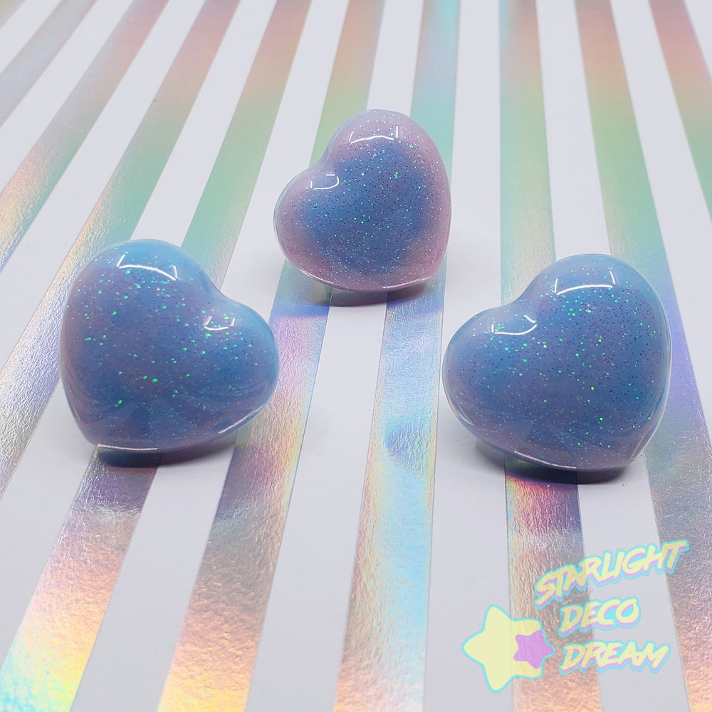 Image of Cotton Candy Resin Heart Ring / Adjustable Size