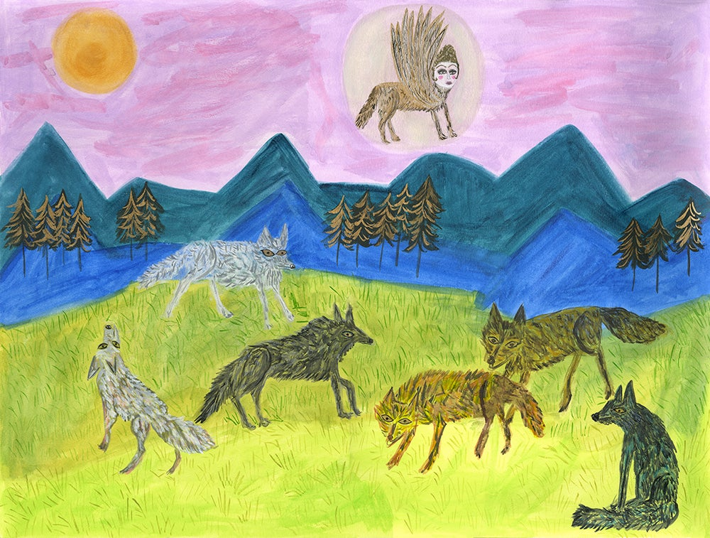 Image of The Patron Saint of Wolves. Original painting.