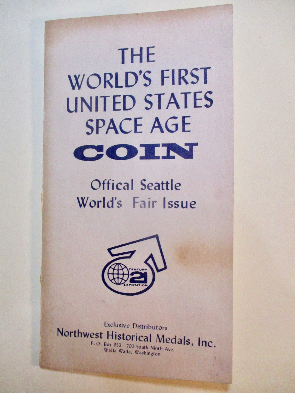 1962 C21-Original 1962 Folder with a Gem Mint Space Age Official Medal