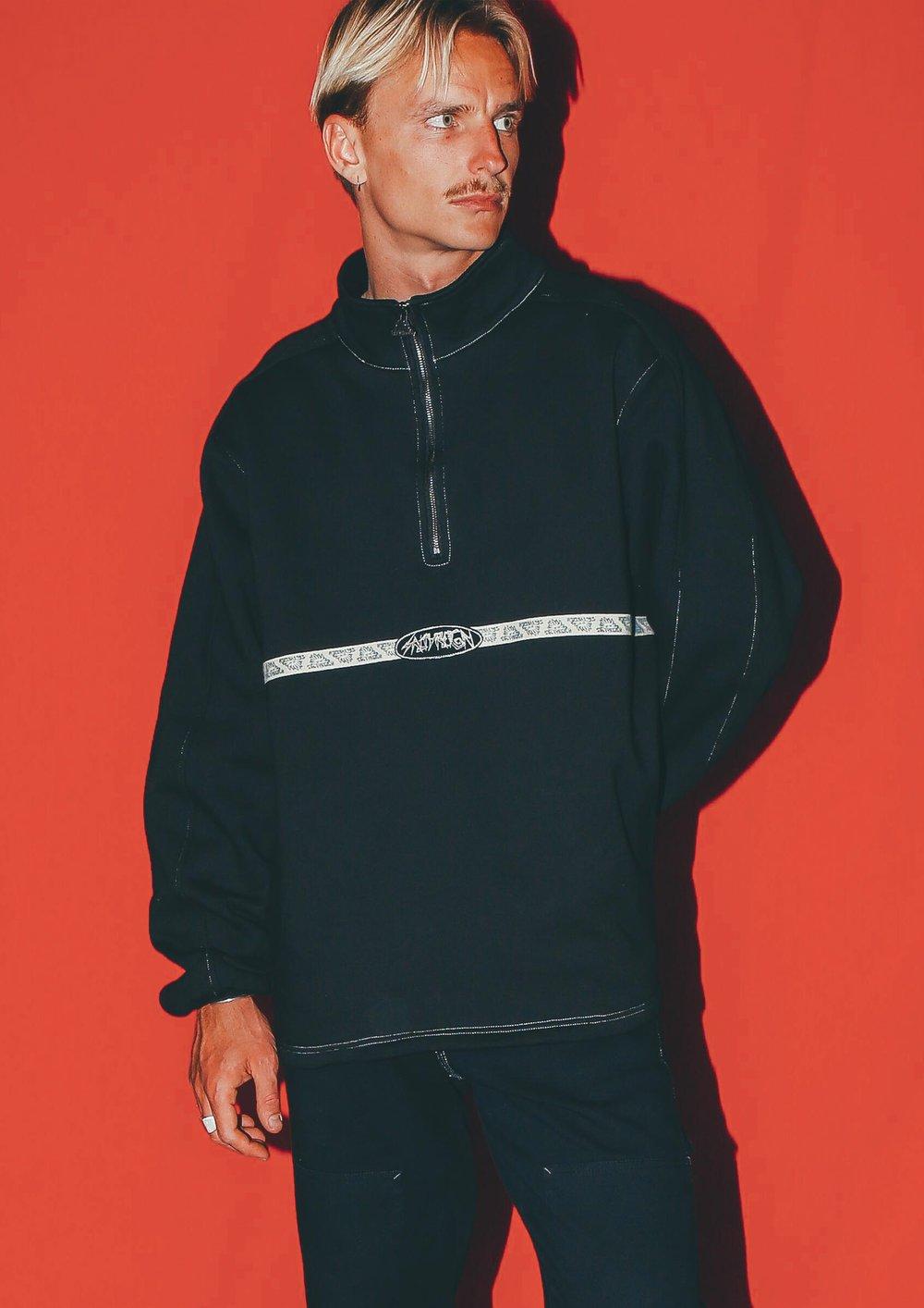 Image of Midnight Black - Quarter Zip Fleece