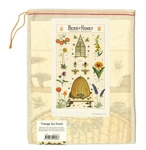 Image of Bees & Honey Print Cotton Tea Towel - Cavallini Collection