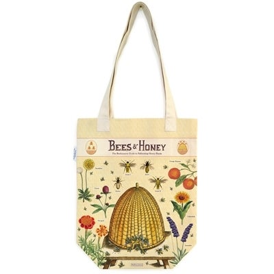 Image of Bees & Honey Print Heavyweight Cotton Tote Bag - Cavallini Collection