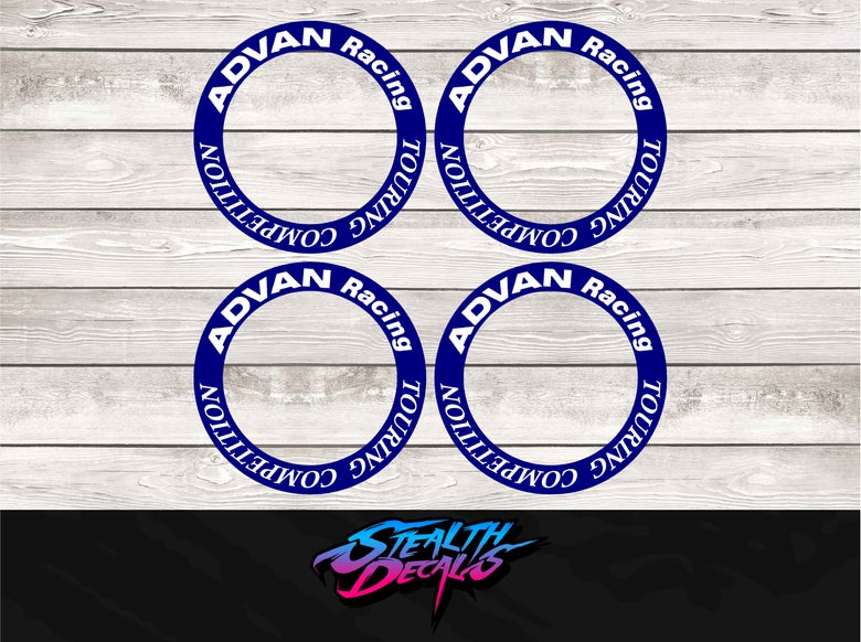 """Image of 17"""" ADVAN TOURING COMPETITION CENTRE RING Decals Stickers x 4 pcs"""