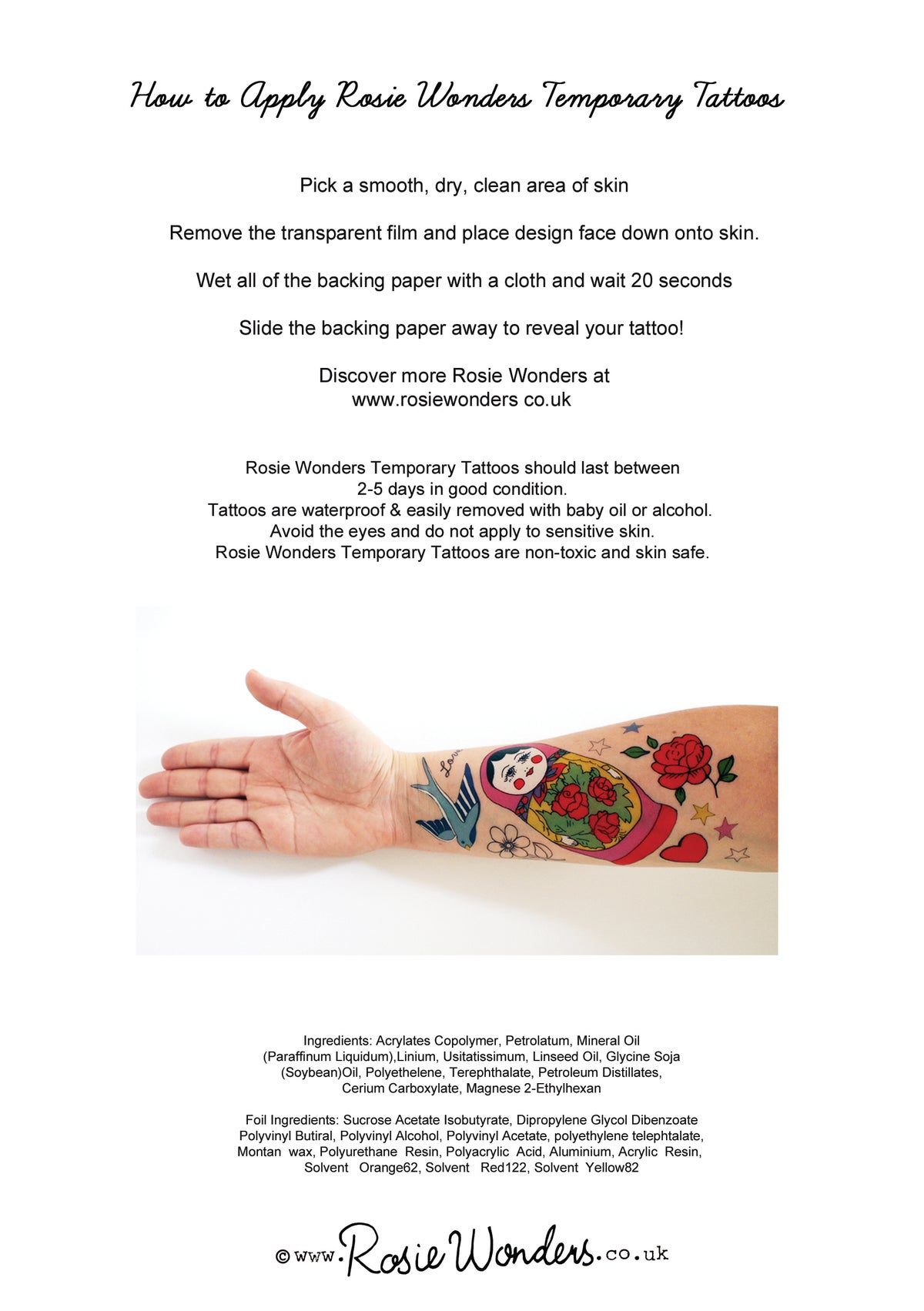 **NEW** Fluorescent  A5 70's New Age Temporary Tattoos
