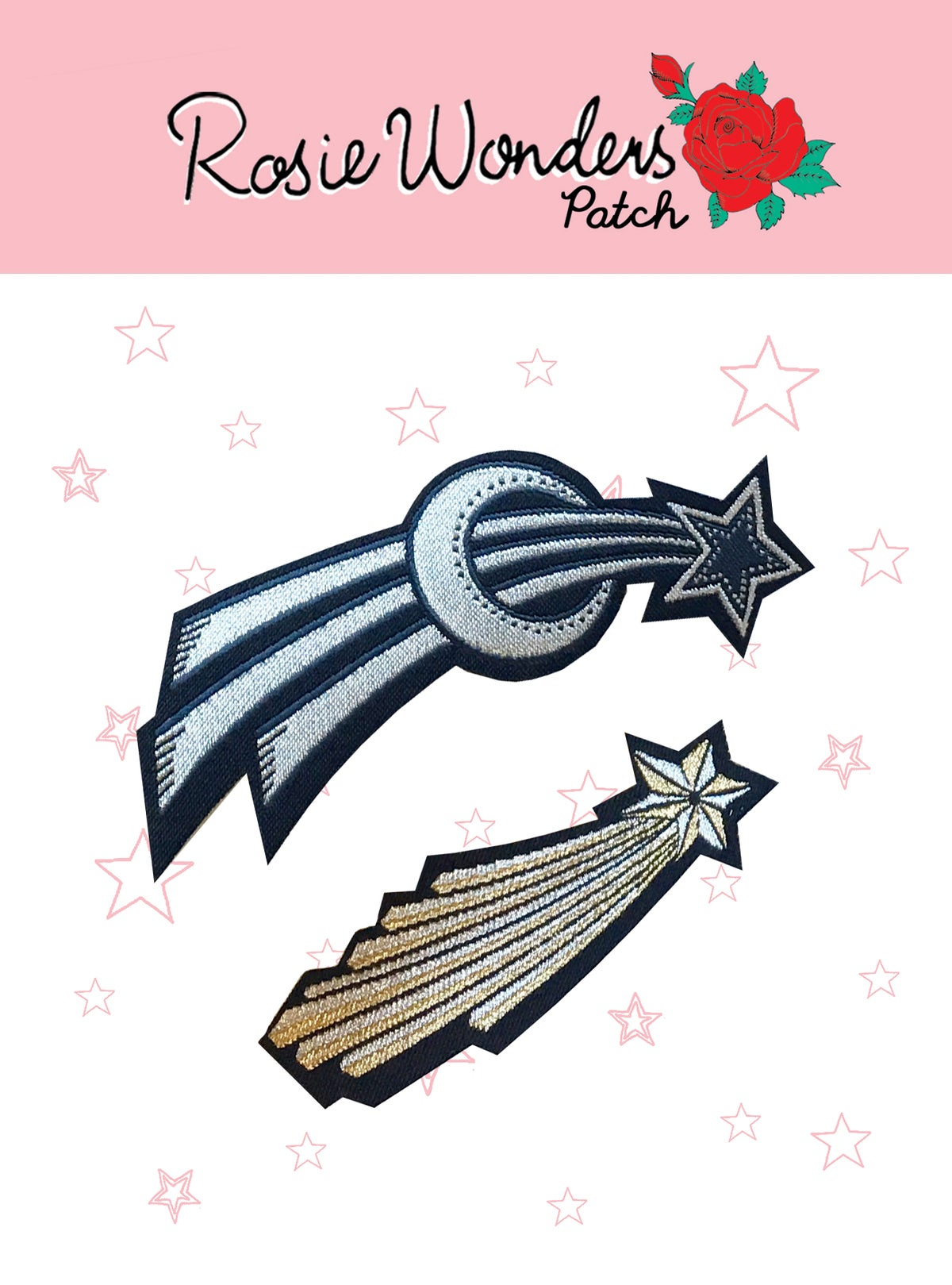 Shooting Star Iron on Patch - Pack of 2