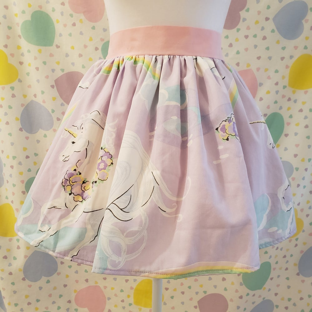 Image of Lavender Magical Unicorn Mini Skirt with Side Pocket - Upcycled Vintage Cotton Sheets