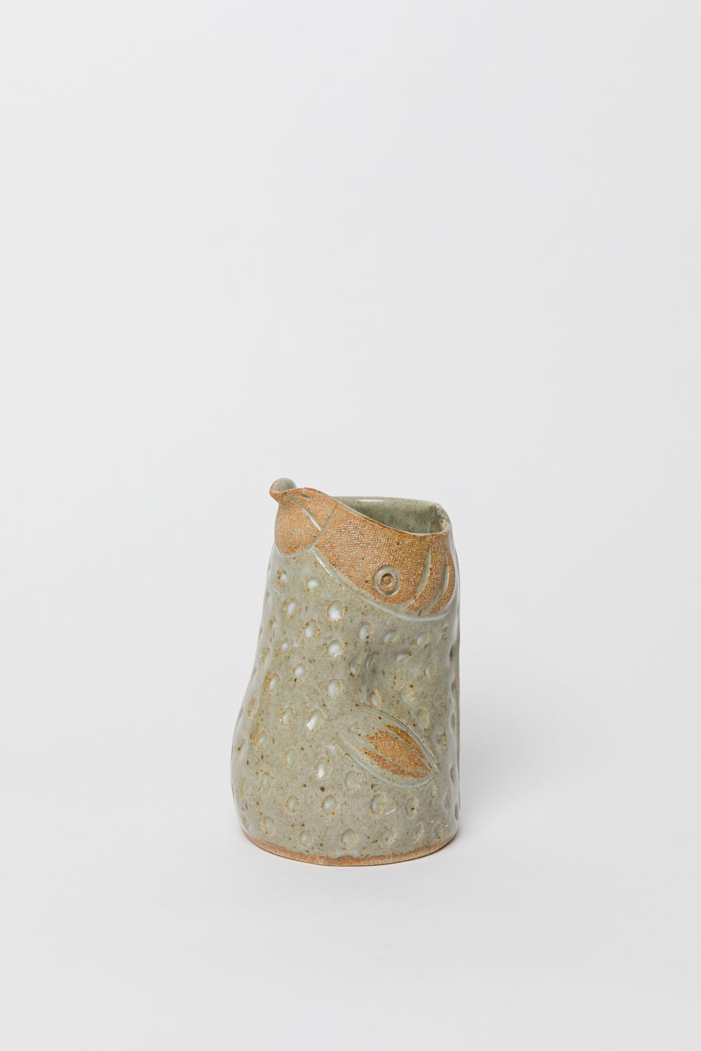 Image of Medium Small Winged Dotted Green Handleless Bird Pitcher