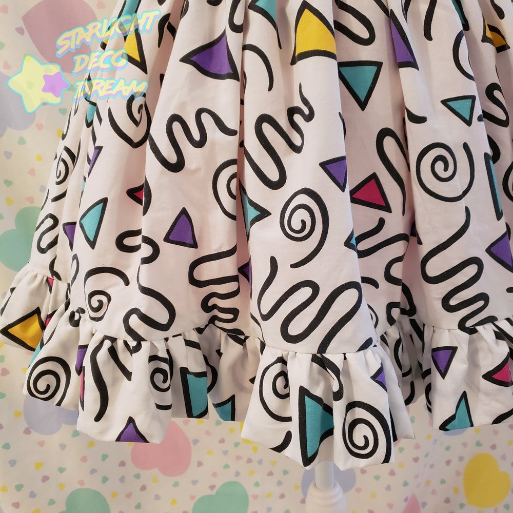 Image of 80s Geo Memphis Side Pocket Full Skirt - Upcycled Vintage Cotton Sheets