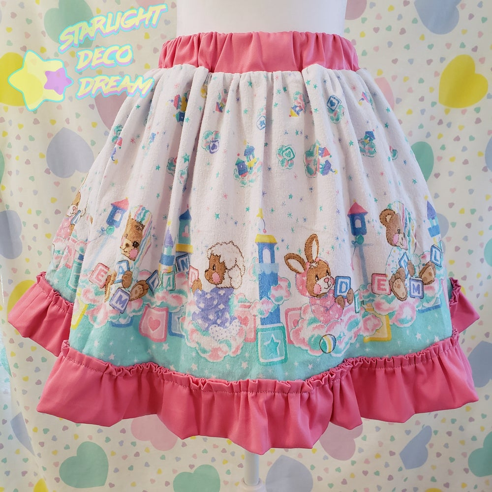 Image of Little Bear's Dreamland Full Skirt - Upcycled Flannel and Cotton Blanket