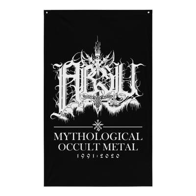 Image of ABSU - MYTHOLOGICAL OCCULT METAL 1991-2020 FLAG (WHITE PRINT)