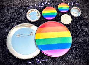 """Pronoun Button - Rainbow Pride Flag - 1.25"""""""