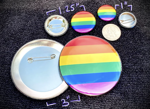 """Pronoun Button - Inclusive Progress Pride Flag  - 1.25"""""""