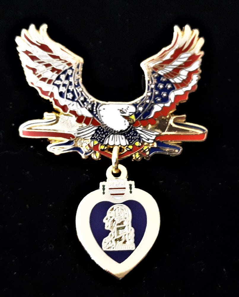 Image of Purple Heart Patriotic Eagle Pin