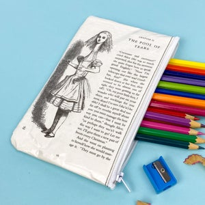 Image of Alice in Wonderland, Curiouser and Curiouser Book Page Pencil Case