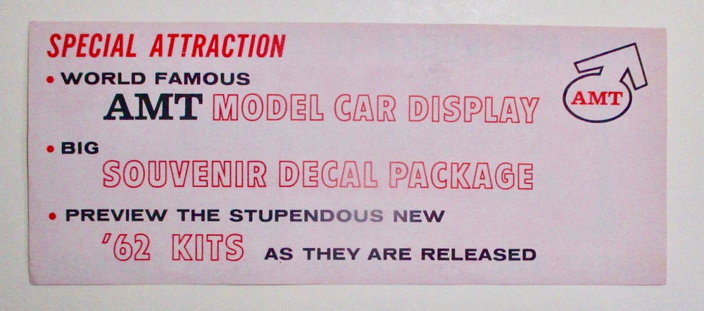 C21-Original AMT Insert To Model Kits Announcing Their Booth at the World's Fair
