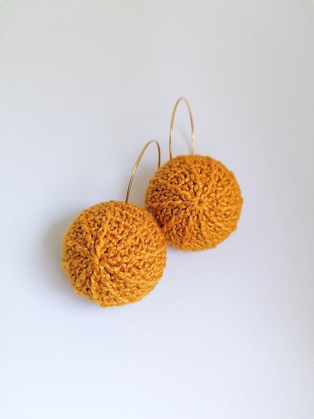 Image of Crochet Sea Urchin Earrings in Warm Yellow